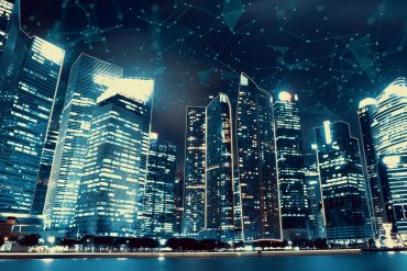 Smart digital city with connection network showing need for IoT security