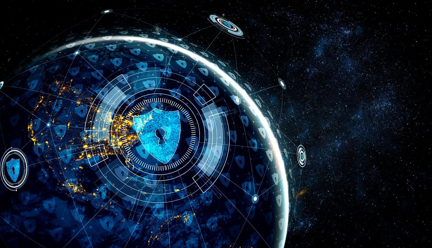 Virtual shields over the globe showing use of SASE for Zero Trust