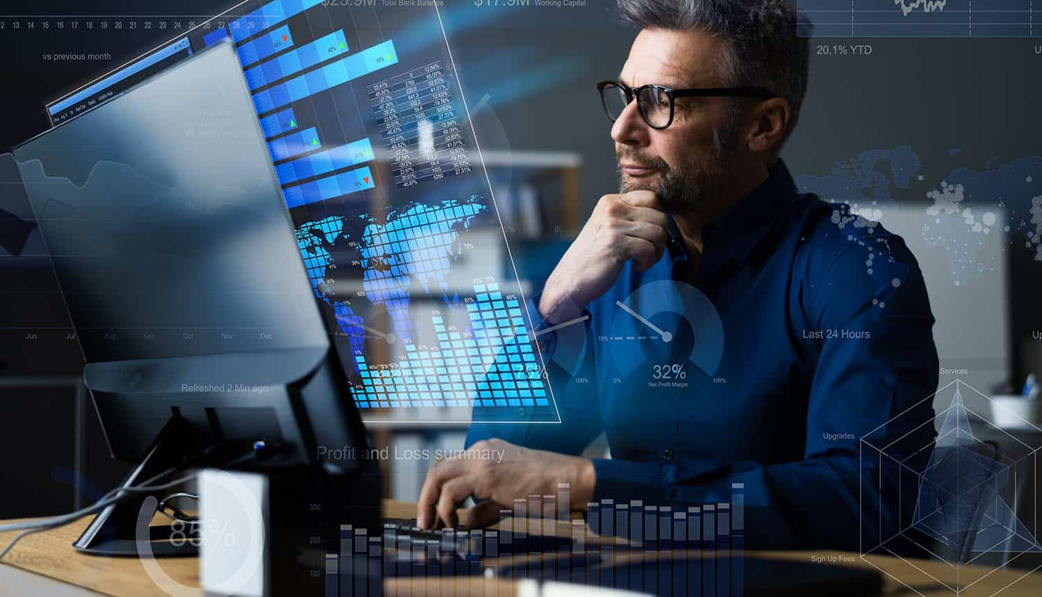 Man looking at business results on virtual screen showing business resilience