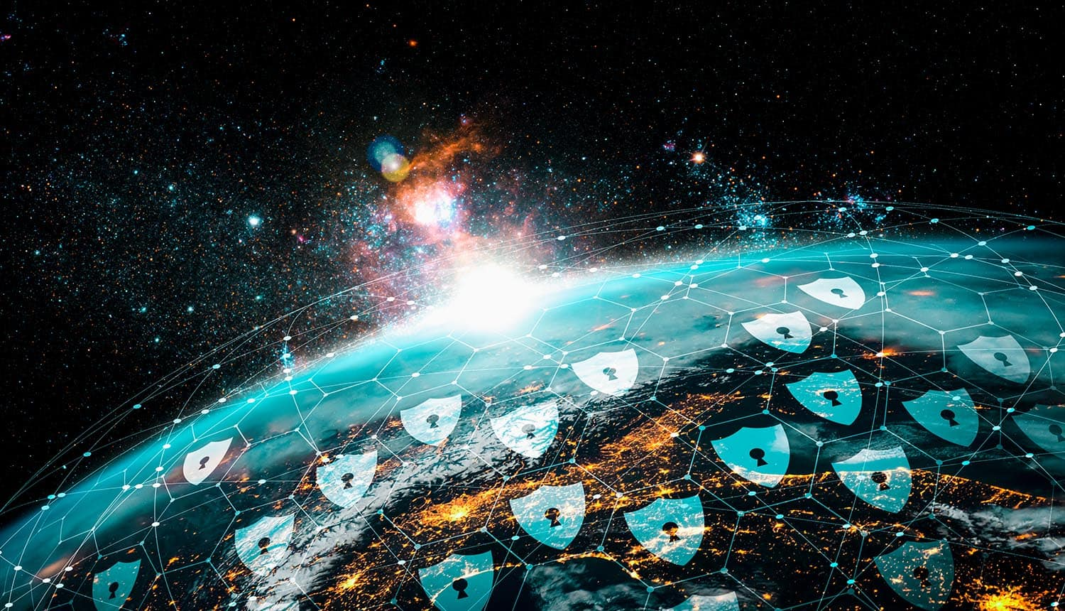Cyber security technology and online data protection over virtual globe showing need for new security infrastructure