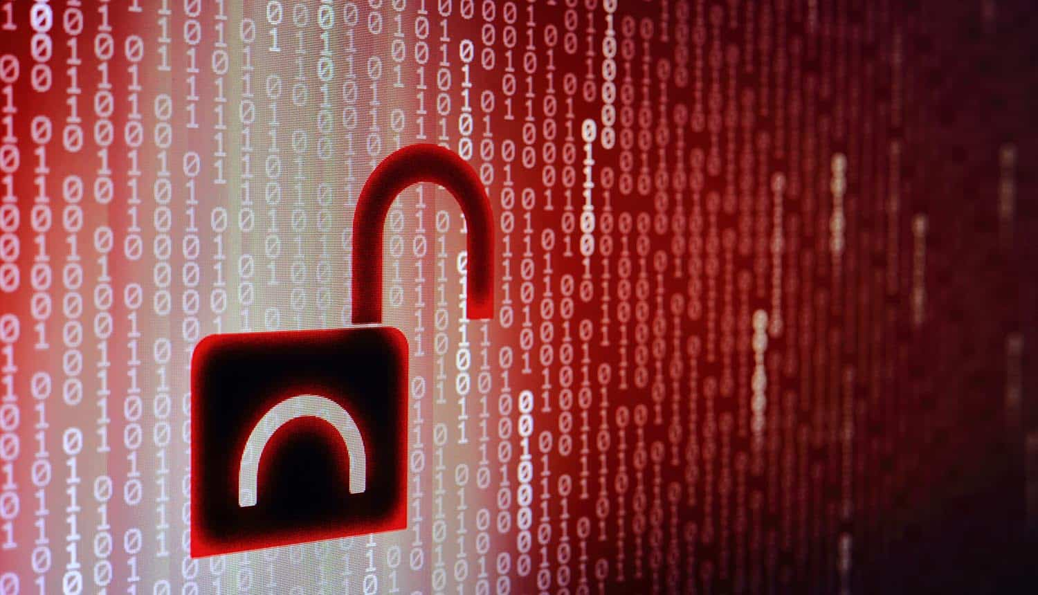 Red binary code background with open black padlock icon showing password leak