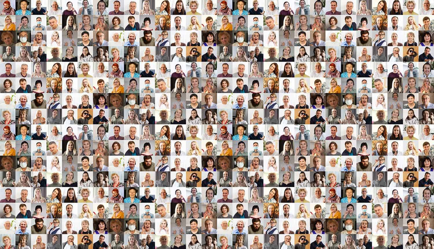 Hundreds of multiracial people crowd headshots showing facial recognition violation of data protection laws