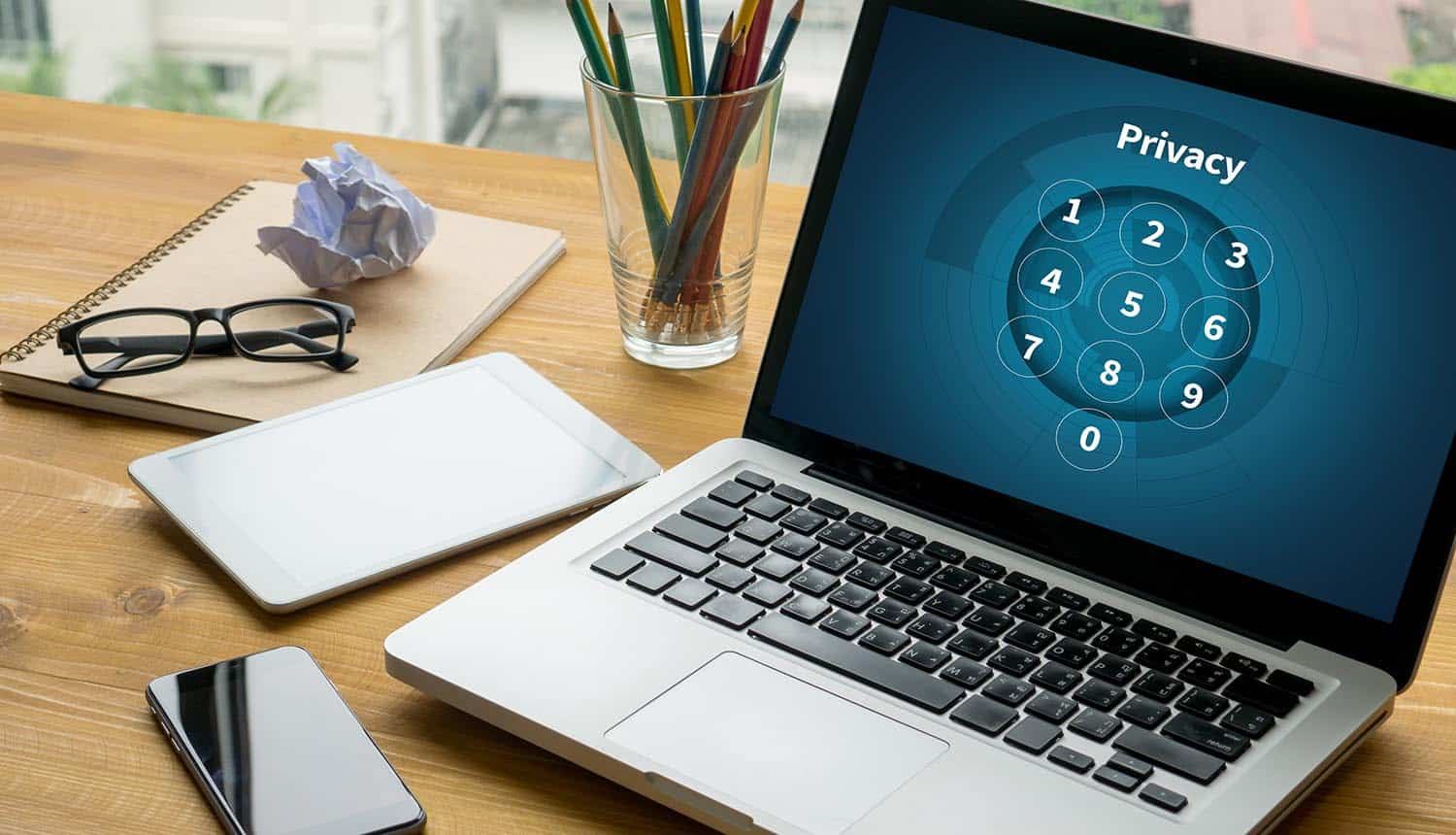Privacy passcode on laptop screen