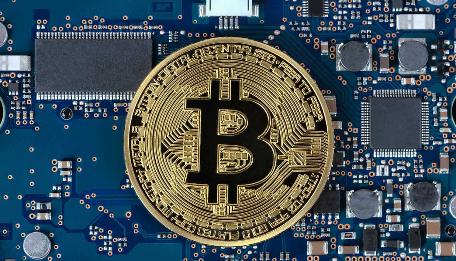 Bitcoin with computer circuit board in background showing privacy update