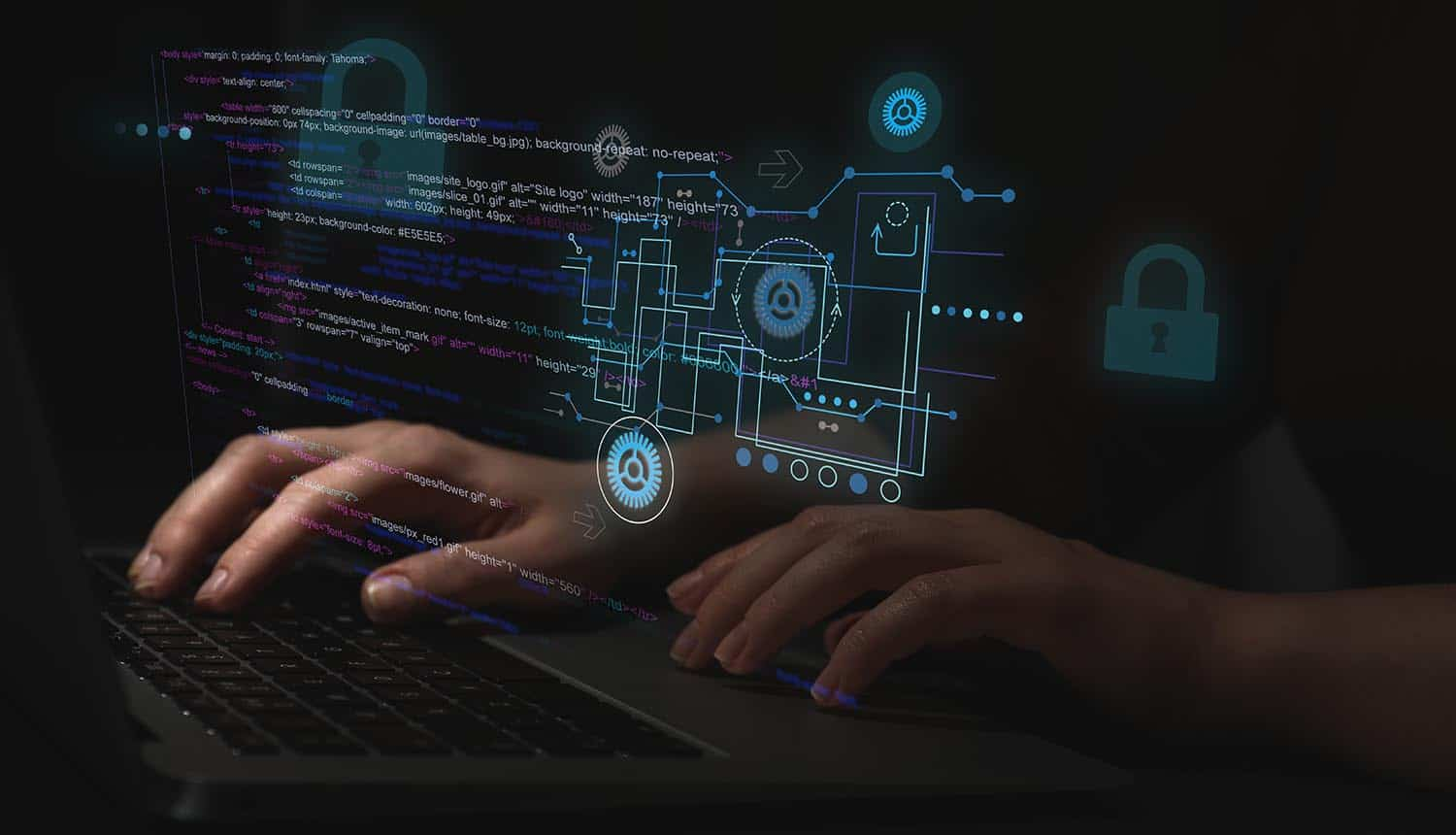 Hacker working with laptop at table showing cyber attack on water supply