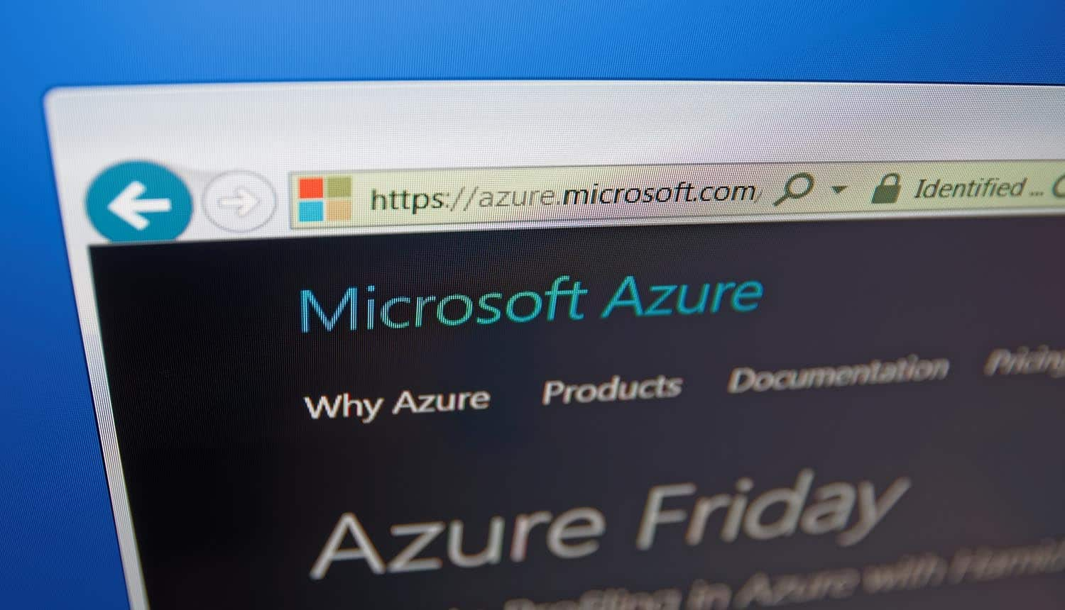Computer screen shows details of Microsoft Azure main page showing active directory security
