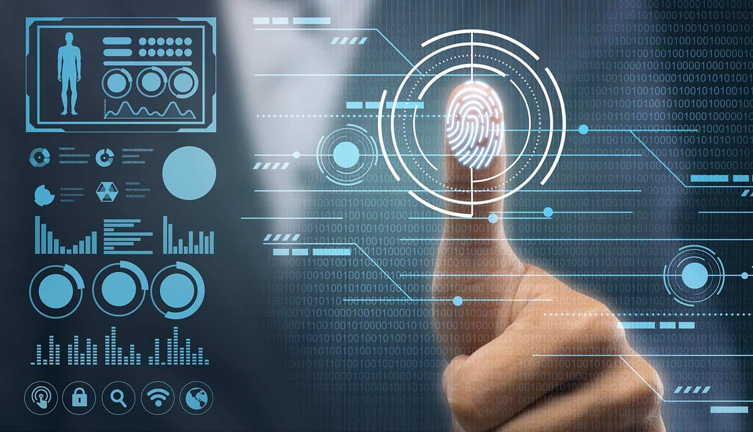 Man touching virtual panel with finger showing identity management