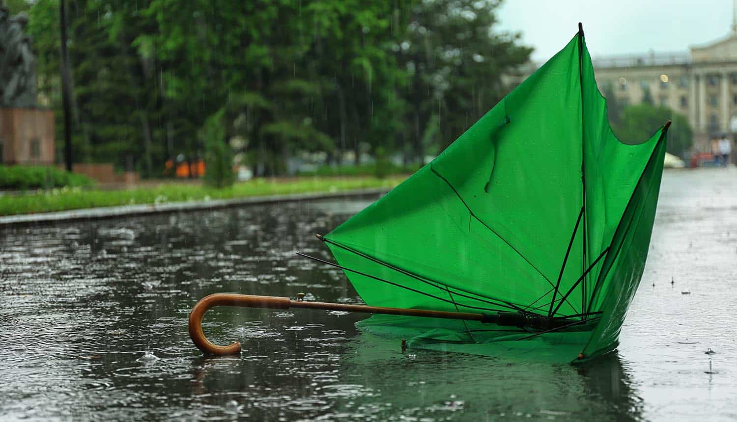 Broken green umbrella in park on rainy day showing increased cyber reinsurance rates due to ransomware attacks