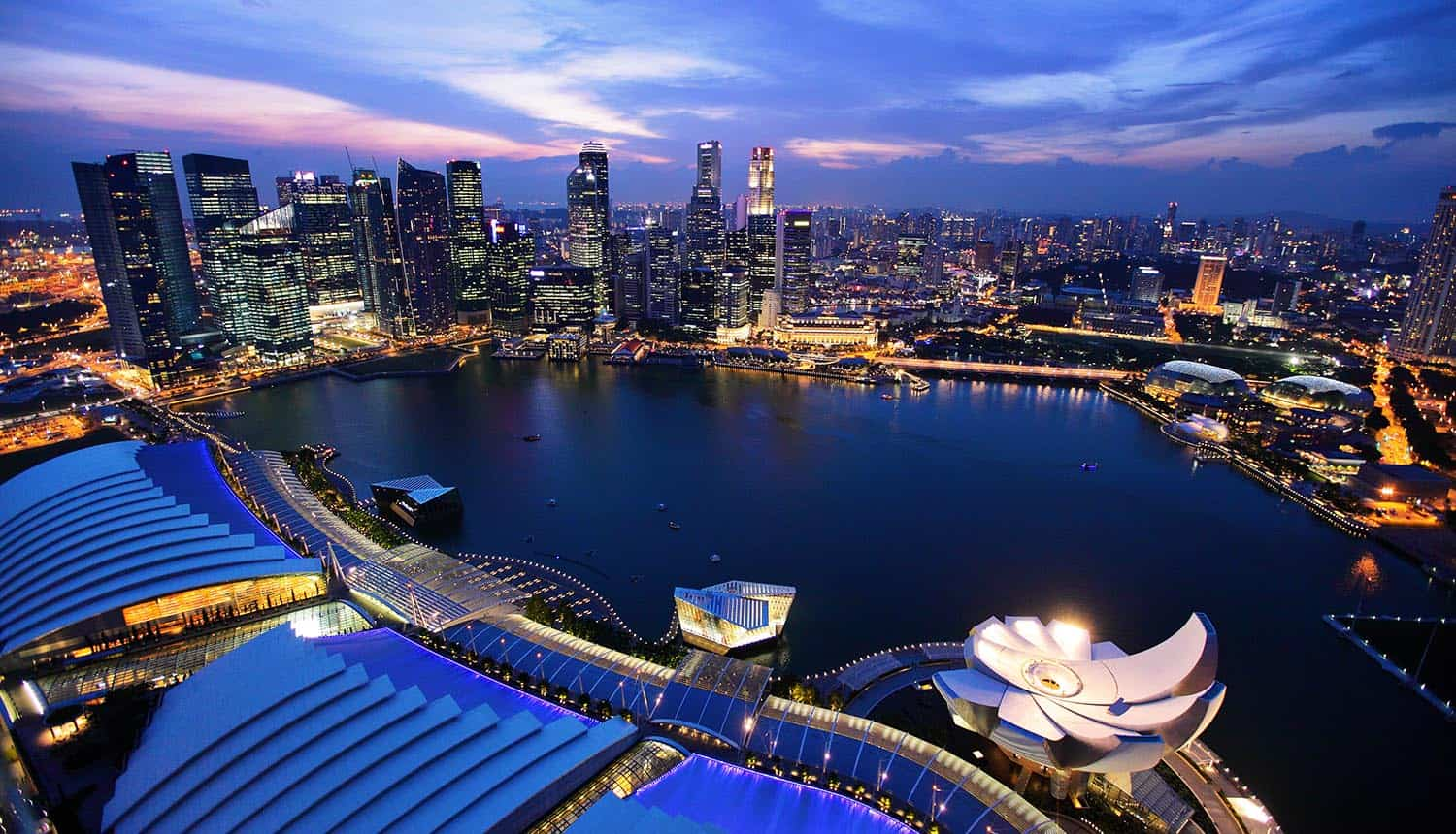 Singapore city skyline at night showing digital services driving identity management