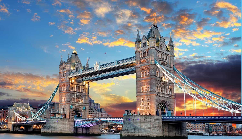 Tower Bridge in London UK at sunset showing data transfer decision under GDPR
