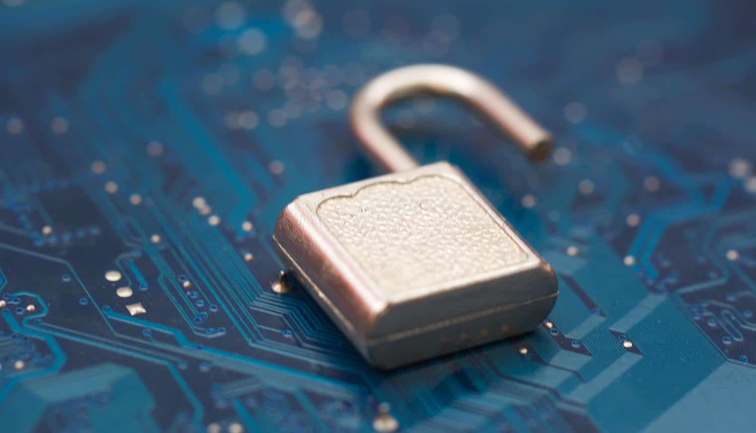 Opened security lock showing Windows vulnerability