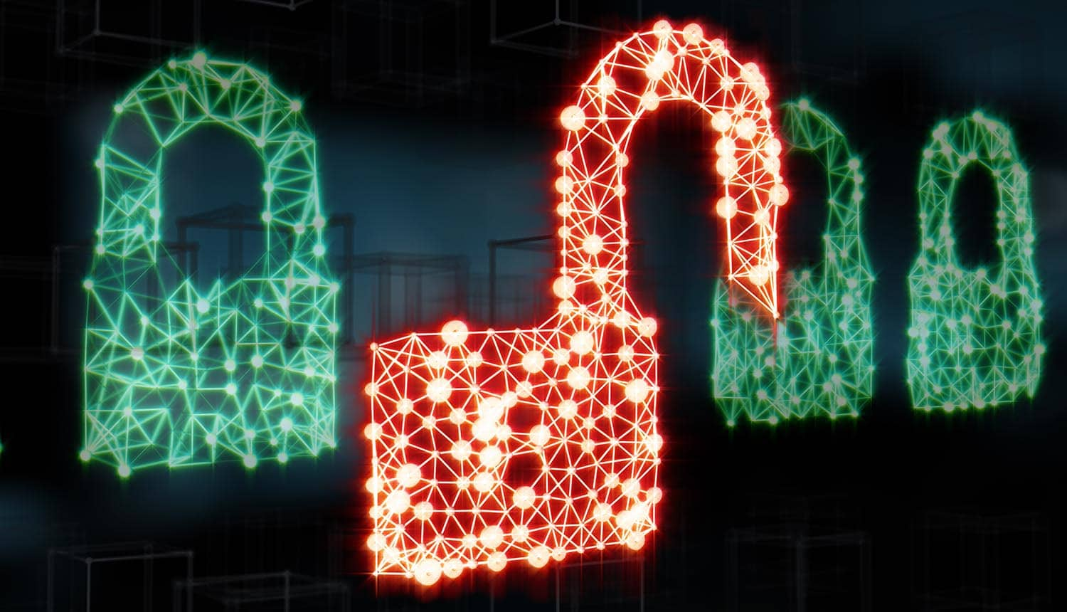 Padlocks symbolizing data protection in the network showing Russian hackers brute force passwords