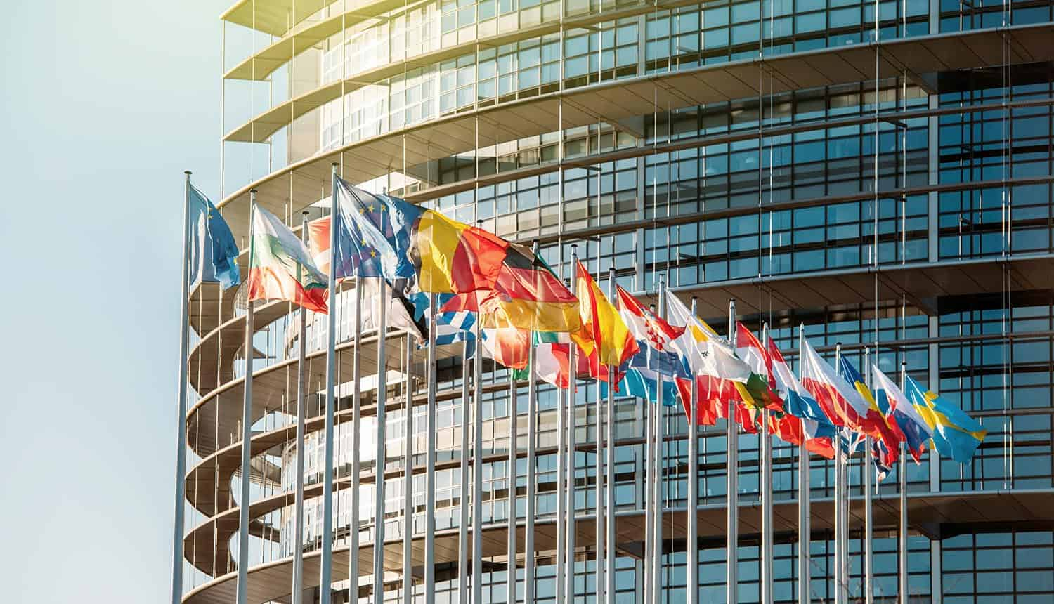 European Parliament building with flags waving showing privacy commissioner complain of GDPR