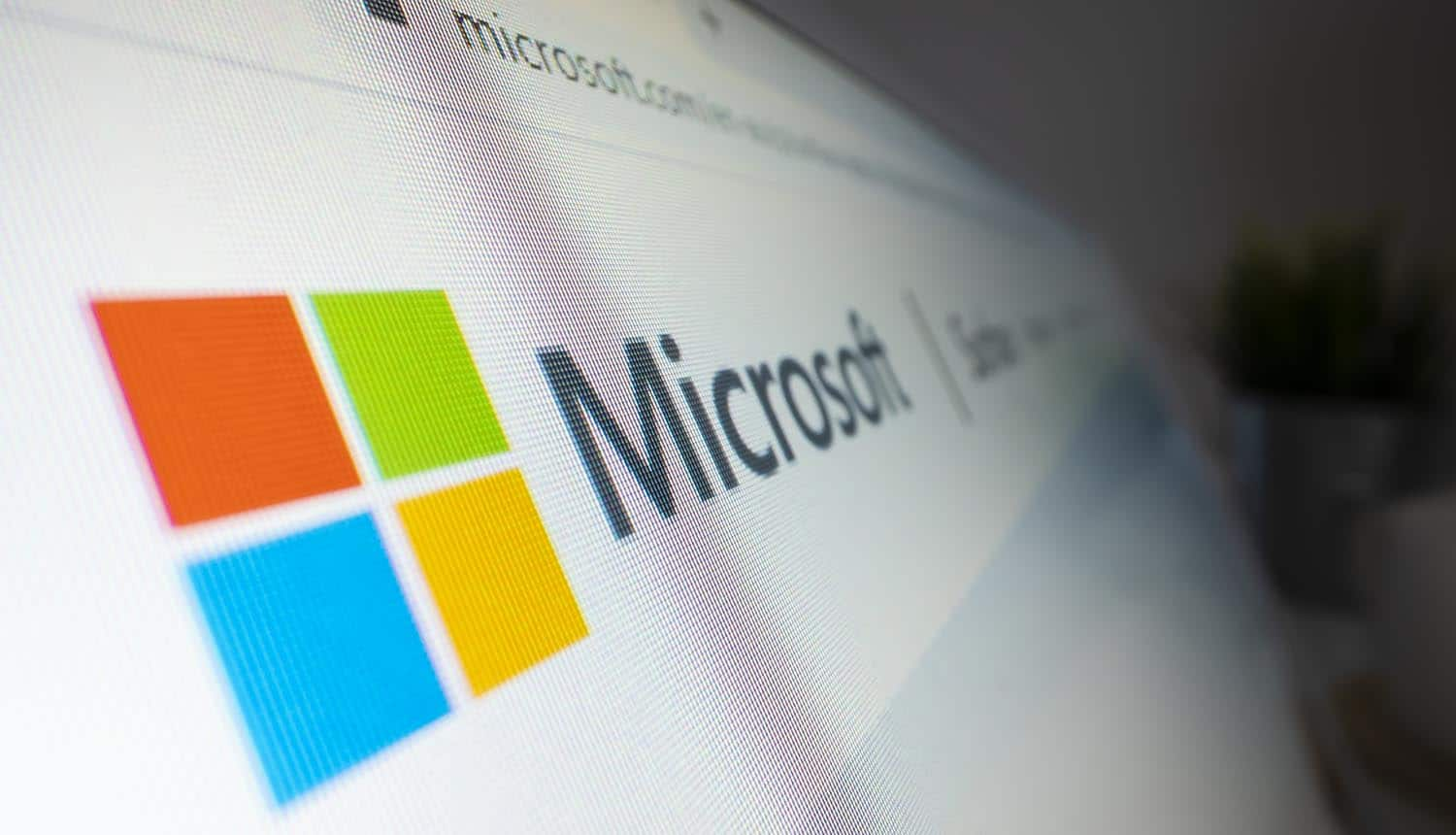Close-up view of Microsoft logo on its website showing cyber attacks on Microsoft Exchange