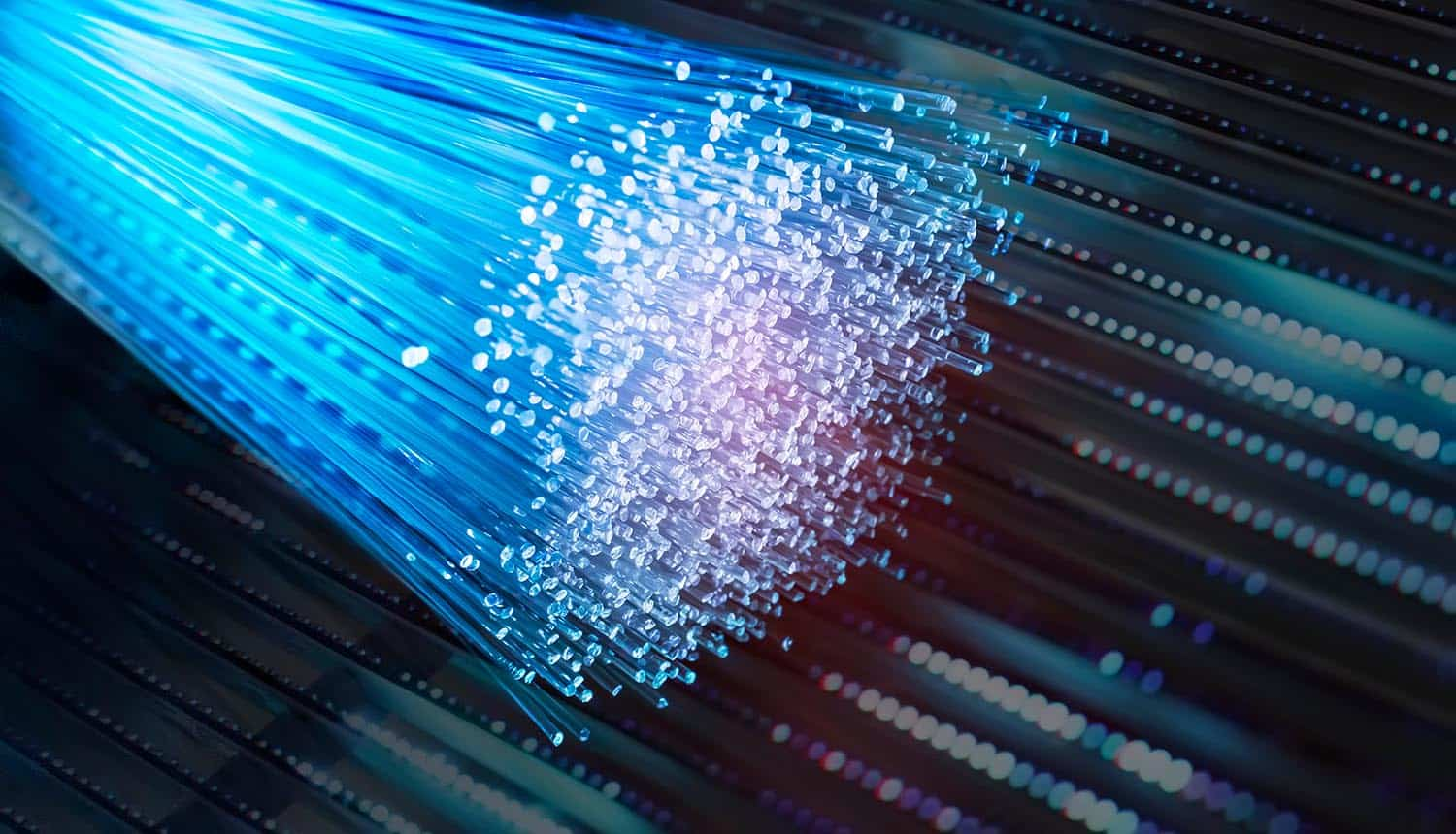 Fiber optics network cables showing net neutrality for broadband providers