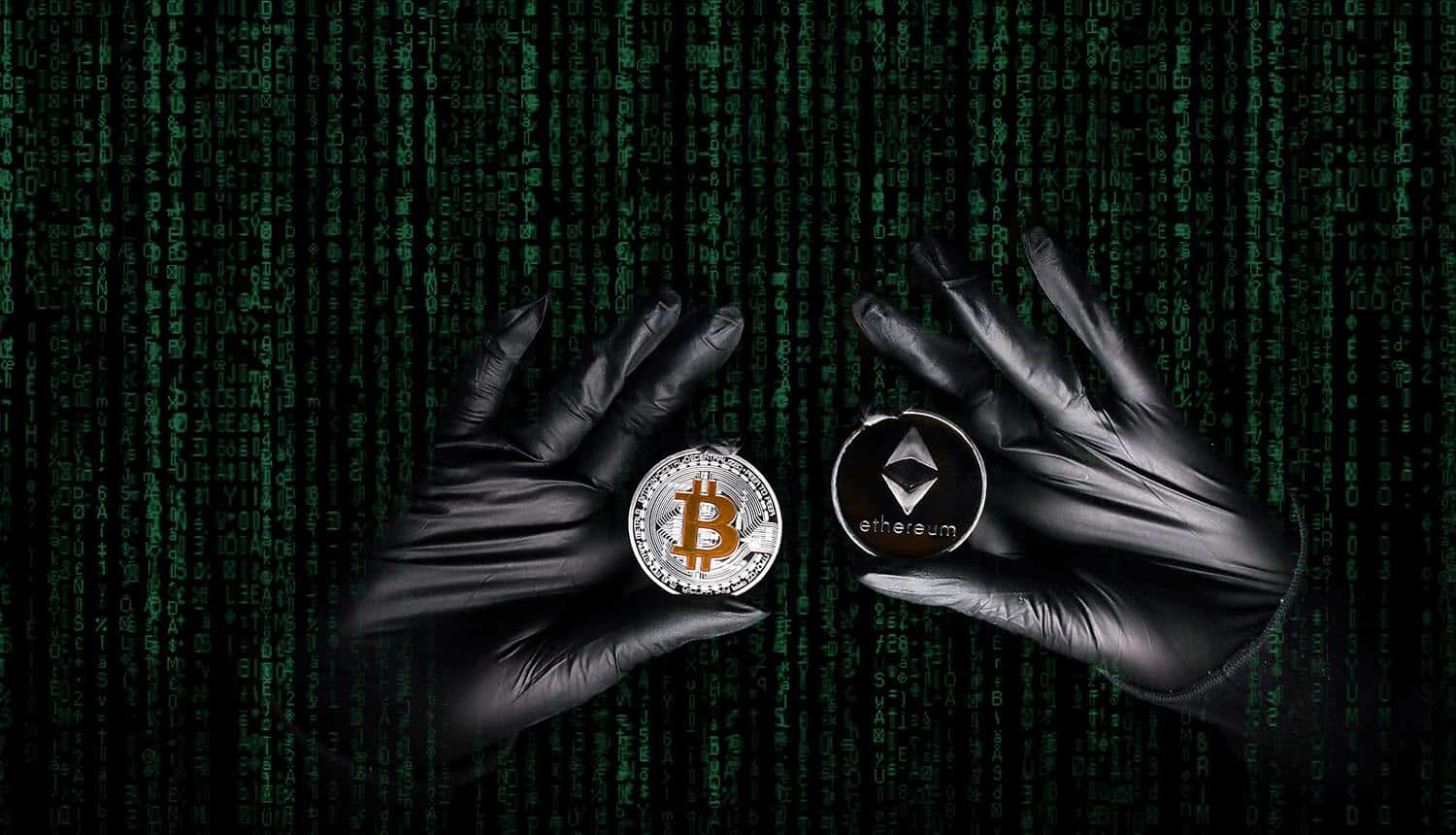 Hands in a black gloves holding bitcoin and Ethereum coin showing crypto exchange cyber attack