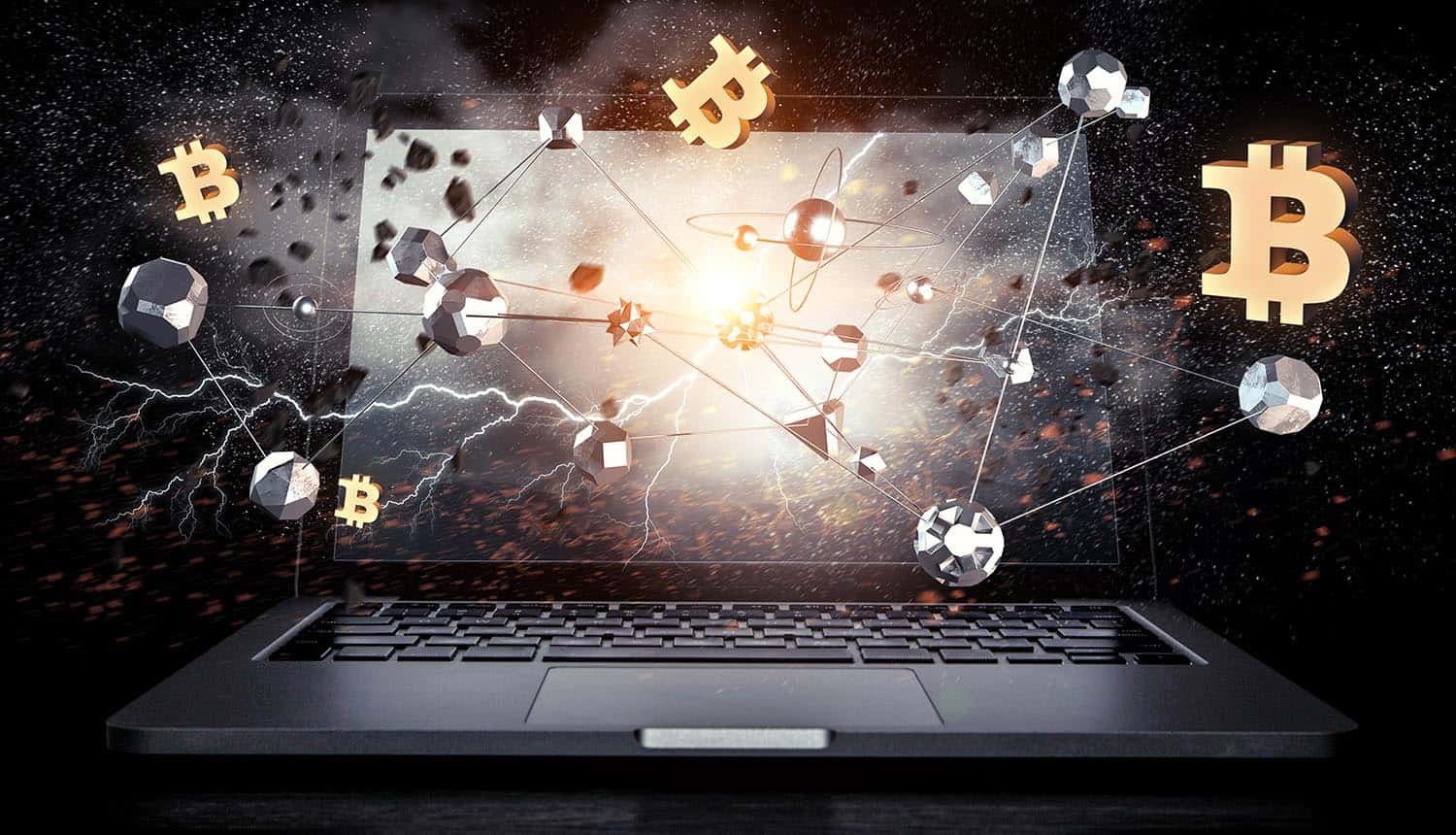 Virtual cryptocurrency concept on laptop