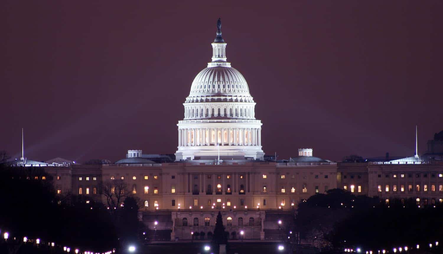 Capitol at night showing infrastructure bill with cybersecurity funding