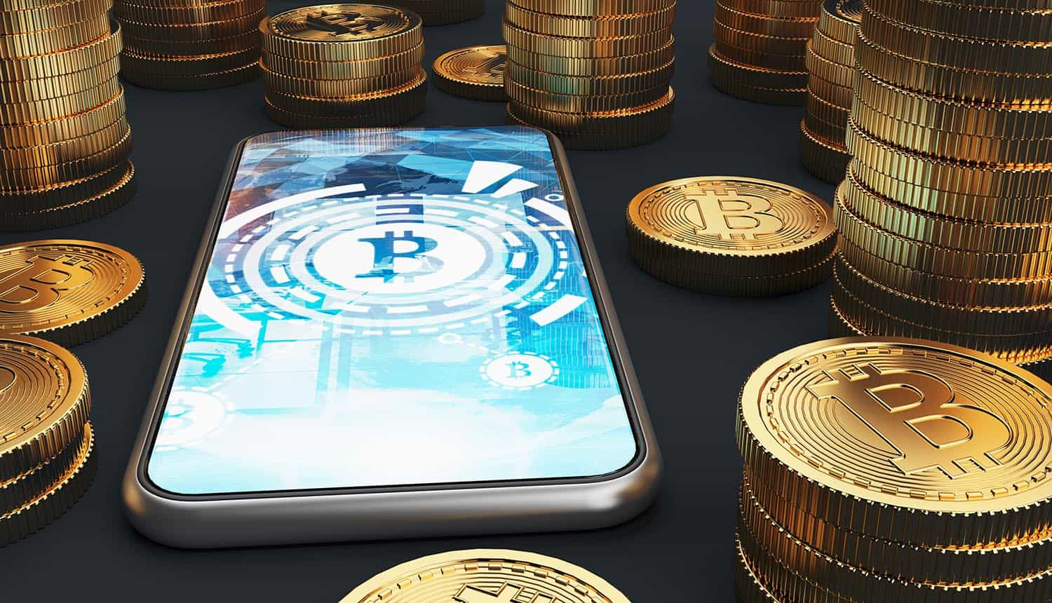 Close up of a smartphone with bitcoin on a screen