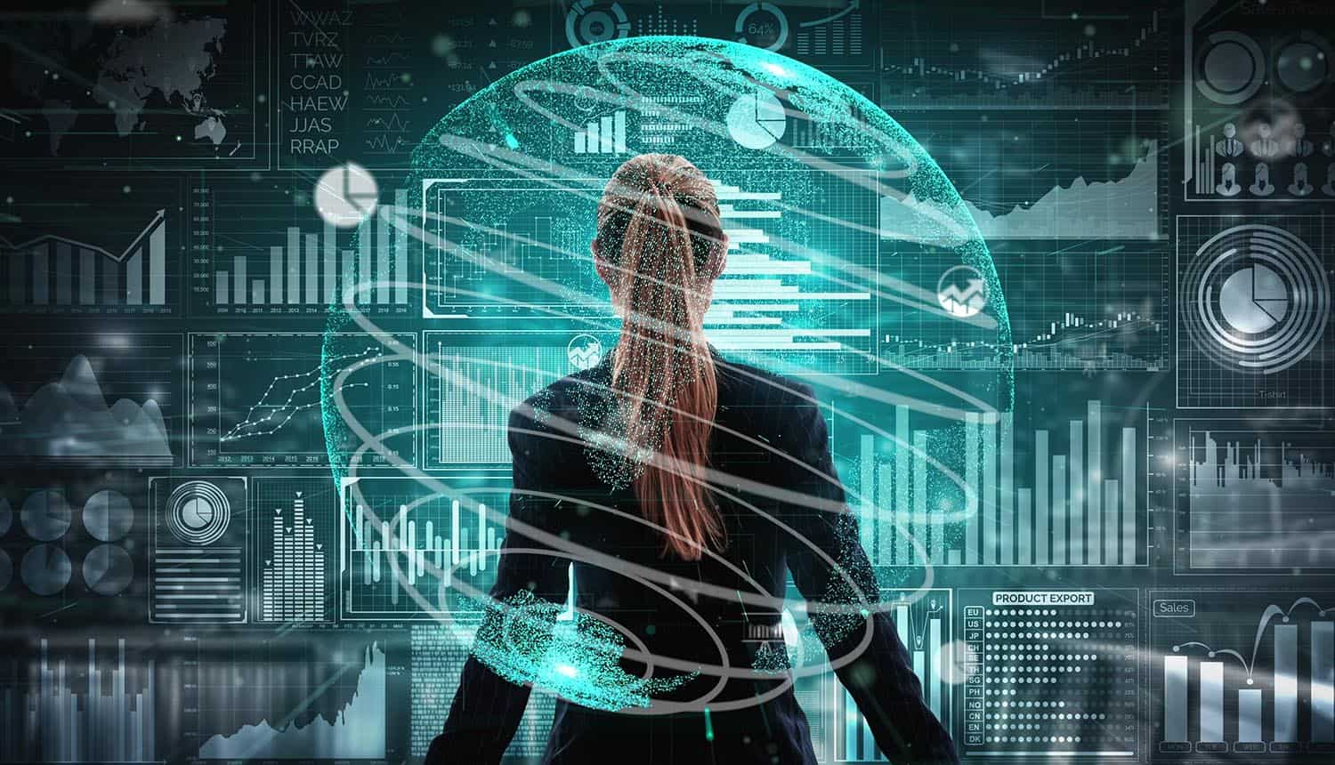 Woman standing in the middle of virtual SIEM metrics and dashboards