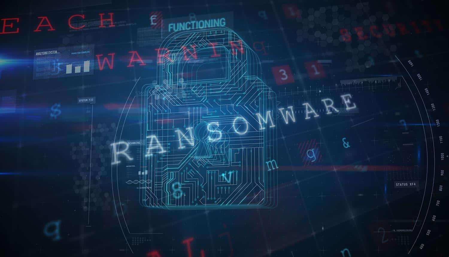 View of a cyber security lock showing REvil ransomware