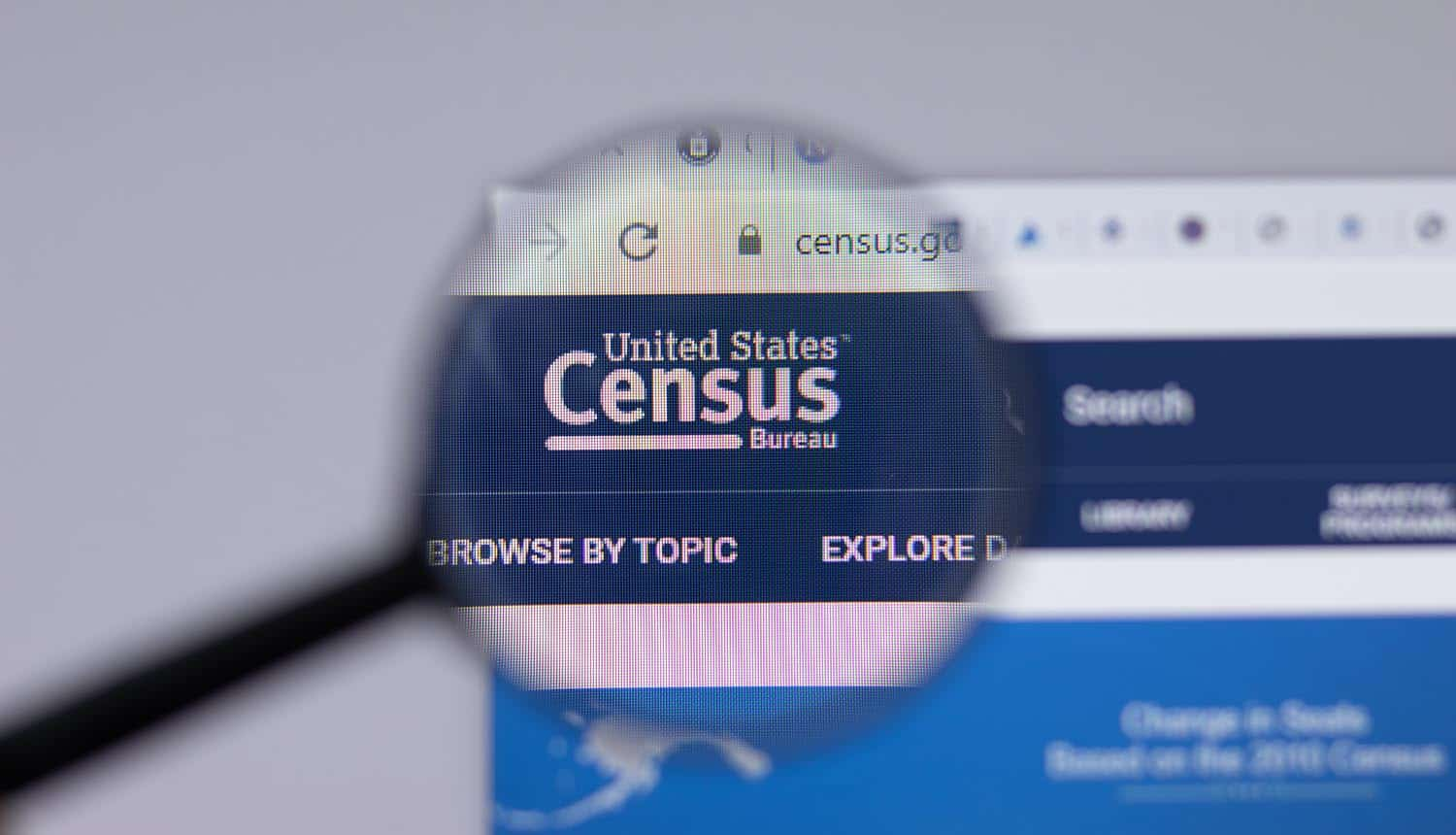 US Census Bureau logo close-up on website showing cyber attack targeting Citrix vulnerability