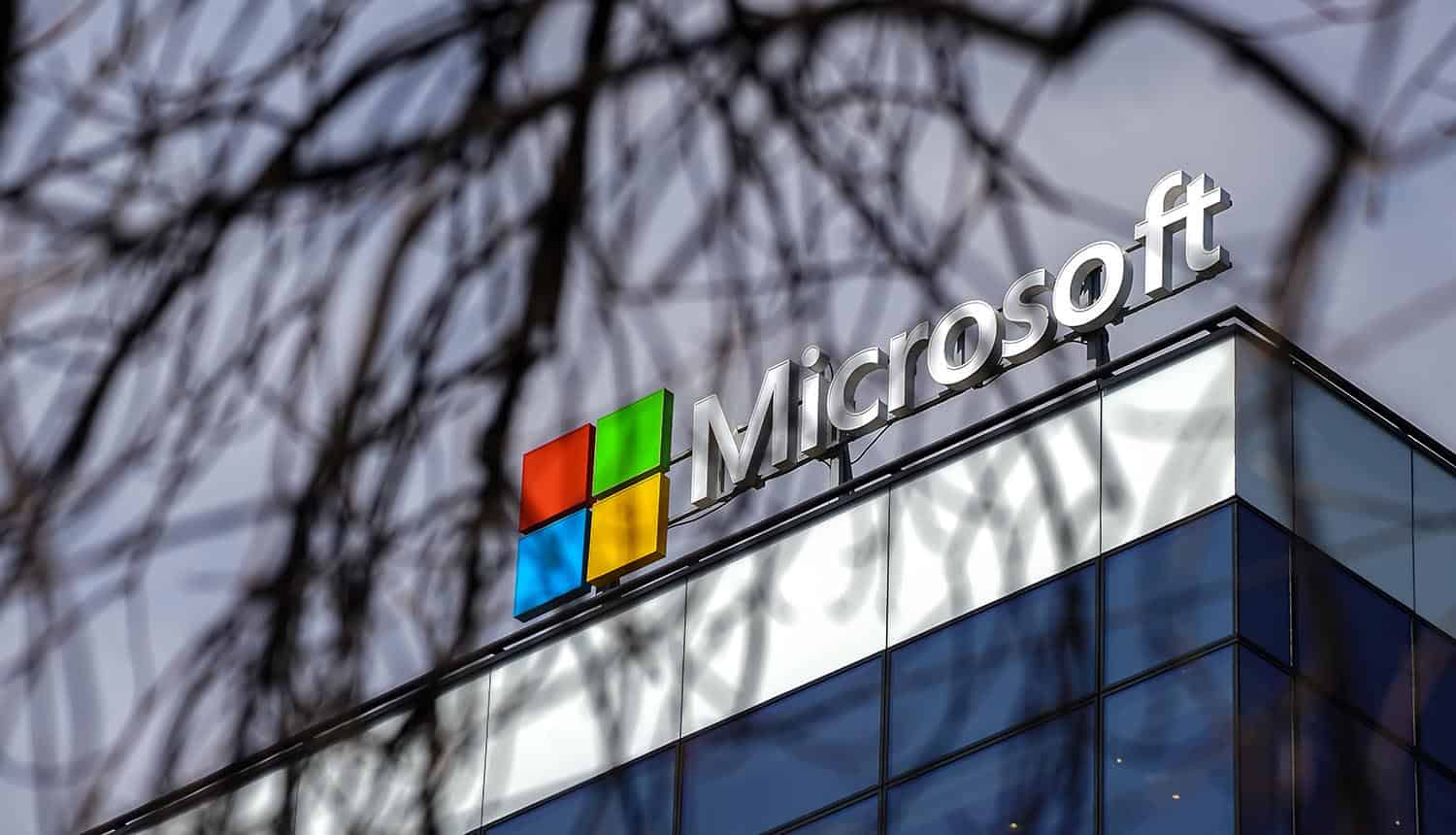 Microsoft logo seen above its headquarters showing ransomware attacks on Exchange servers