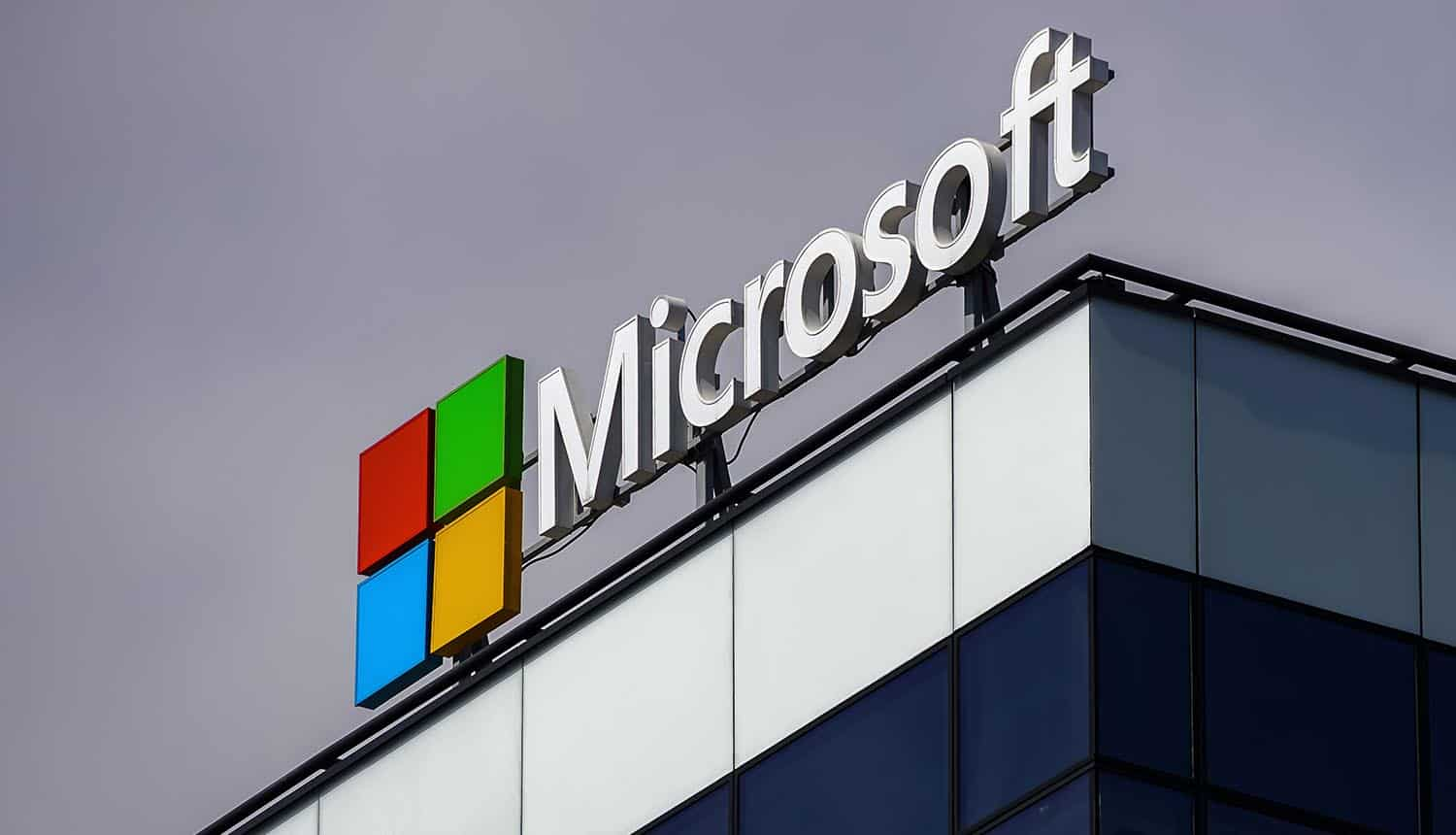 Microsoft logo above its headquarters showing leaked credentials by Microsoft Exchange protocol