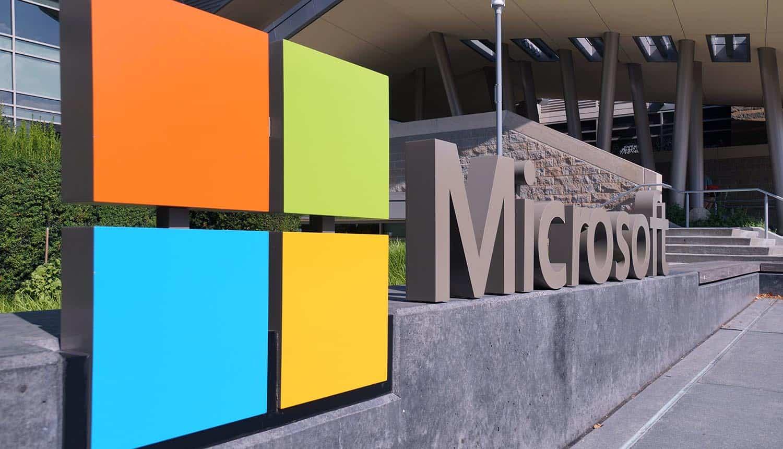 Microsoft logo at headquarters showing Mirai botnet exploiting Azure vulnerability
