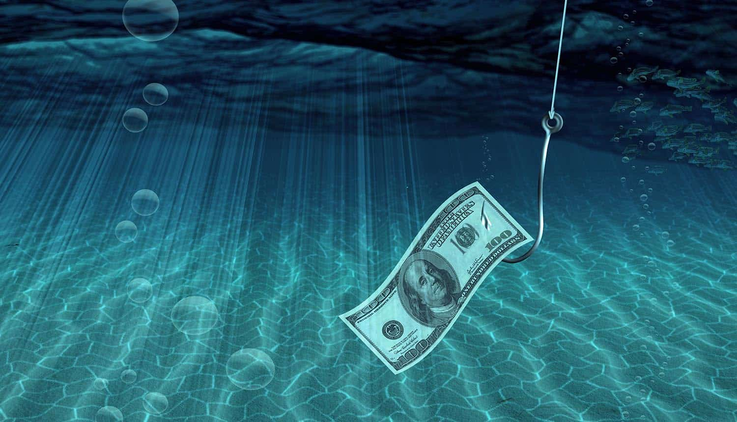 One hundred dollar bill on fish hook showing phishing attacks and malicious emails