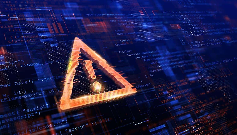 Danger symbol on screen showing Ragnar Locker ransomware gang