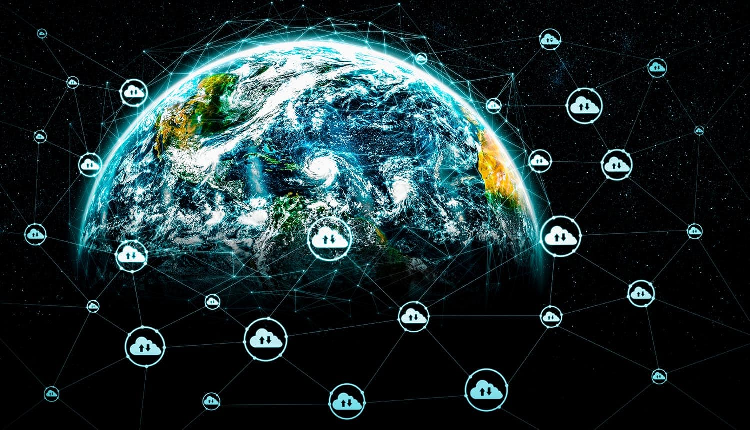 Cloud computing technology around the globe showing hybrid infrastructure and cloud security