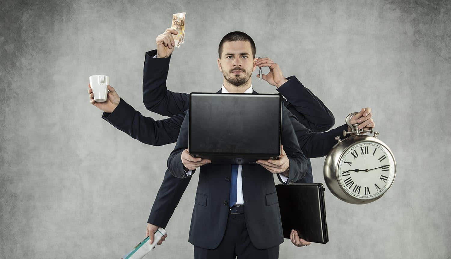 Businessman is a multitasking person