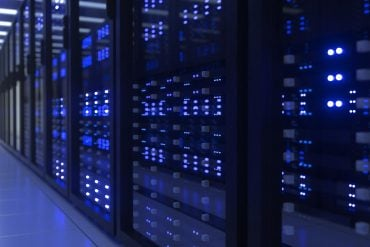 Data center computer racks showing cyber resilience