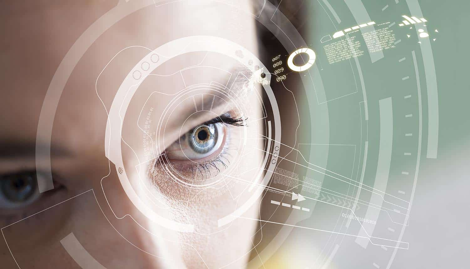 Woamn with Iris recognition technology showing KYC and identity