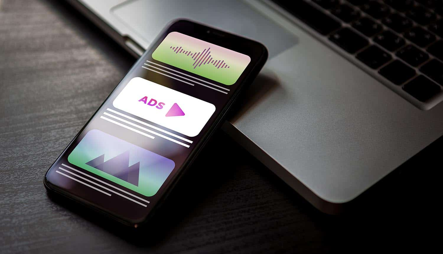 Advertising media banner block when viewing a site on a phone screen showing mobile advertising and app tracking
