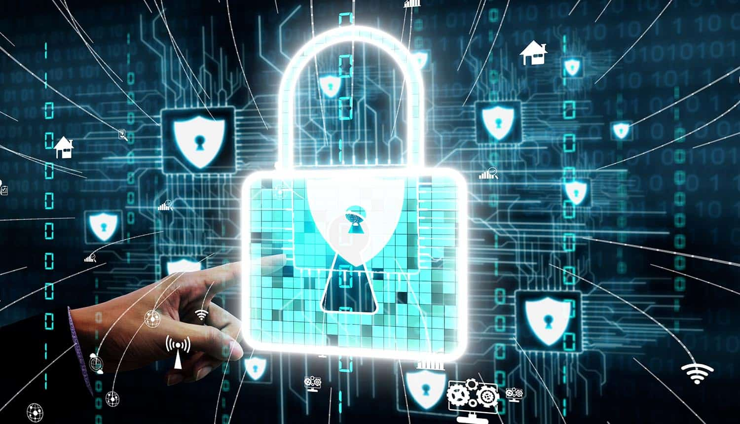 Virtual locks and shields against digital background showing cloud containers resulting in supply chain attack